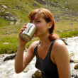 Refreshment after long hike — Stock Photo