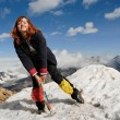 Happy mountaineer girl - Stock Photo