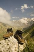 Sturdy climber boots — Stock Photo