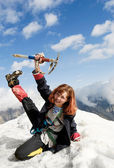 Red-haired mountaineer girl — Stock Photo