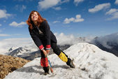 Happy mountaineer girl — Stock Photo