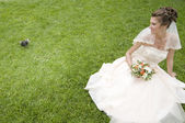 Young bride on a grass with pigeon — Stock Photo
