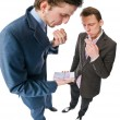 Two young businessmen with lots of cash — Stock Photo