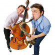 Two musicians with cello and saxophone — Stock Photo