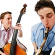 Two musicians performing — Stock Photo