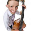 Bass viol player on white background — Stock Photo