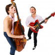 Musicians on white — Stock Photo