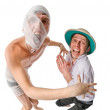 Mummy chasing archeologist — Stock Photo