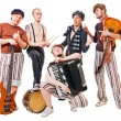 Musical band with their instruments on white — Stock Photo #2353442