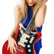 Blond girl with electric guitar — Stock Photo #2353937