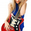 Blond girl with electric guitar — Stock Photo