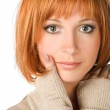 Red haired girl on white — Stock Photo