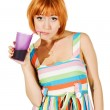 Beautiful red girl with glass of soda — Stock Photo #2354453