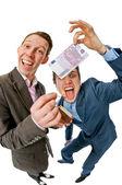 Businessmen burning 500 euros — Stock Photo