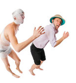 Evil mummy chasing archeologist on white — Stock Photo