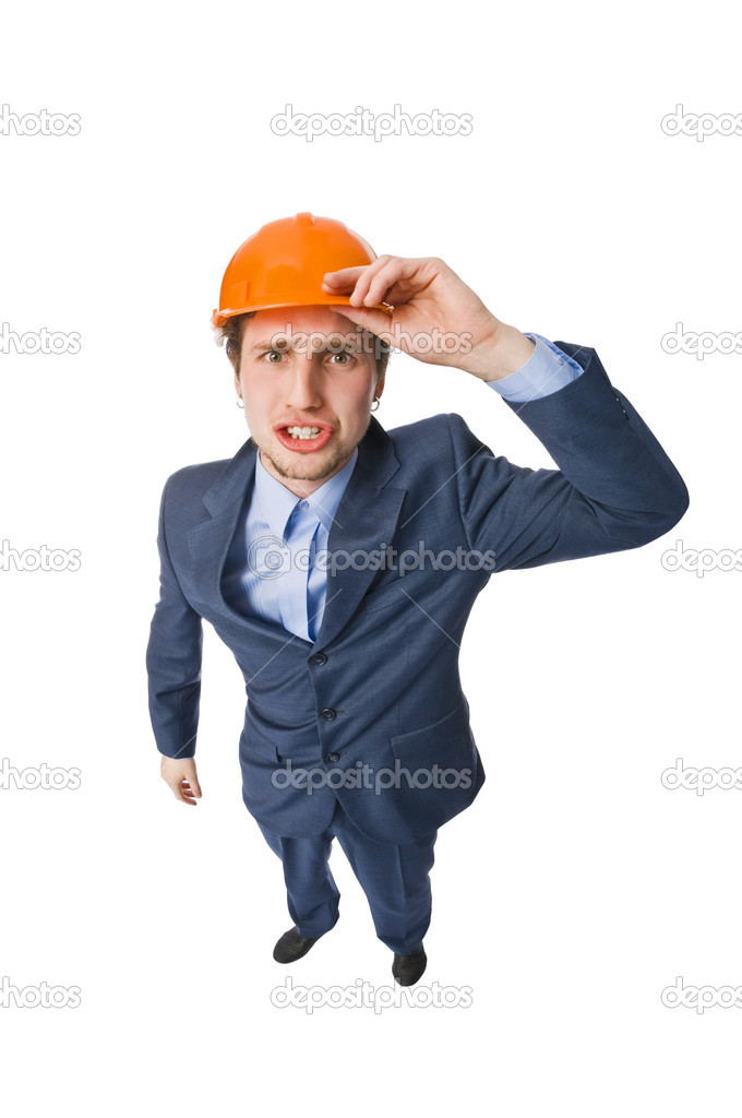 Young man wearing hardhat isolated on white — Stock Photo #2352134