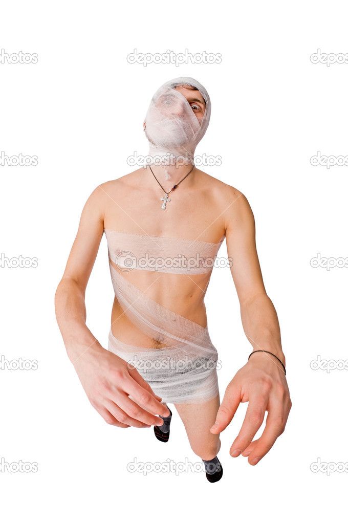 Hideous mummy catching his prey isolated on white — Stock Photo #2352645