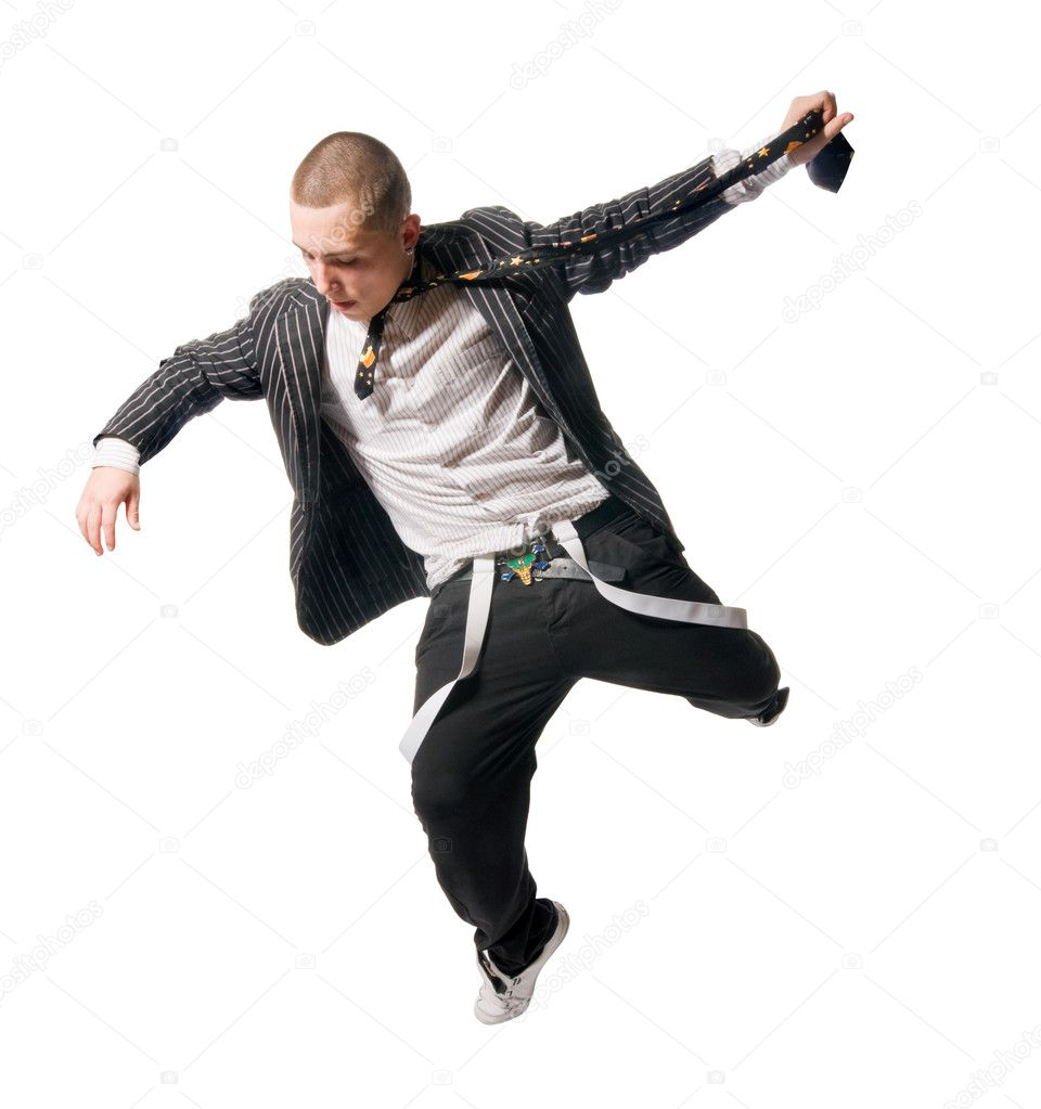 Cool young breakdancer isolated on white background — Zdjęcie stockowe #2352873