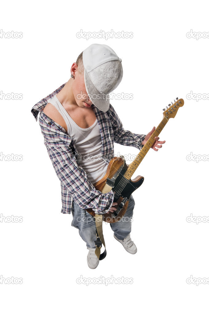 Cool young guitarist isolated on white background  Stock Photo #2352928