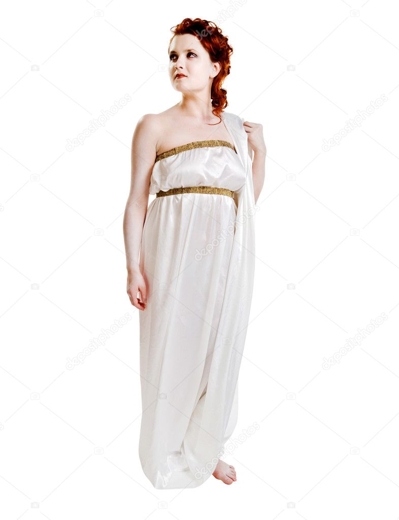 Girl dressed in greek costume isolated on white — Stock Photo #2354651