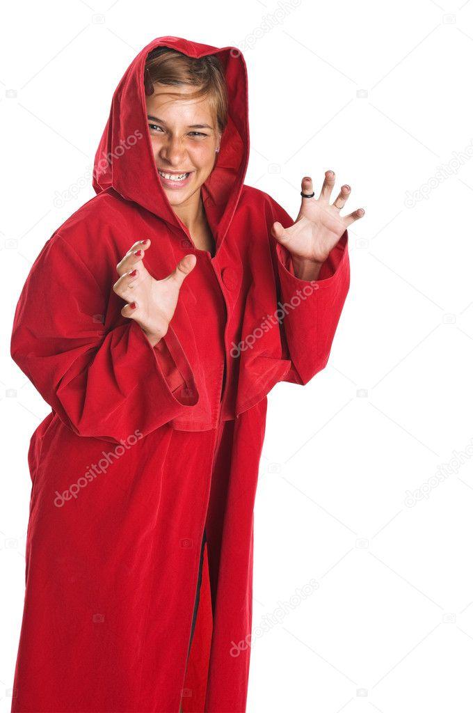 Рыжая в красном халате 17 фотография