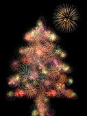 Fireworks christmas tree — Stock Photo