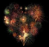 Cuore di fuochi d'artificio — Foto Stock