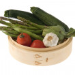 Bamboo basket with vegetables — Stock Photo