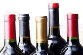 Bunch of unopened wine bottles isolated — Stock Photo