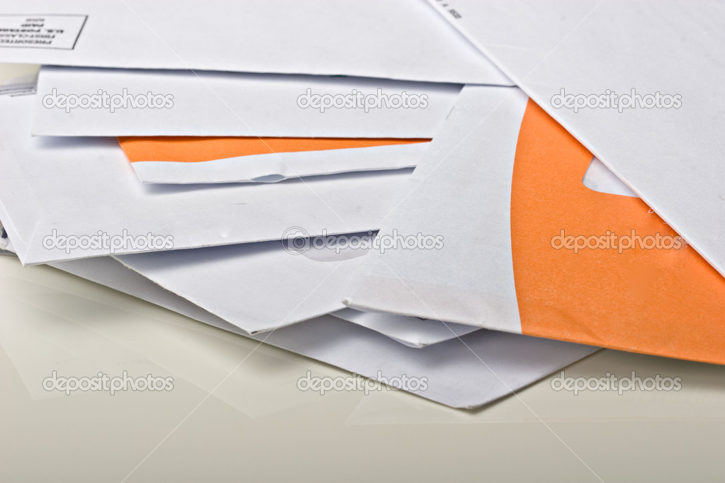 Pile of mail paper bills to pay envelopes on the table  Stock Photo #2352208