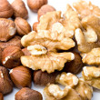 Walnuts and filberts hazelnut close up — Stock Photo