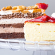 Delicious gourmet cheese cake desserts - Stock Photo