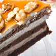 Chocolate cream walnuts dessert cake - Stock Photo