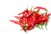 Red spicy hot chili peppers isolated — Stock Photo
