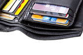 Black leather wallet with credit cards — Stock Photo