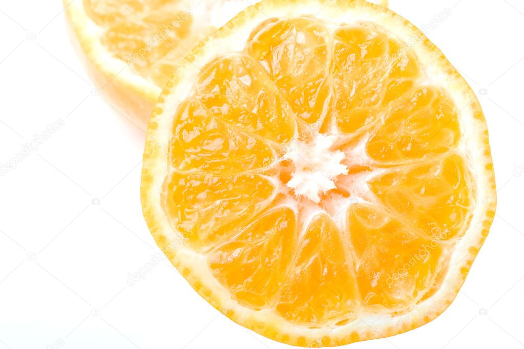 Fresh juicy delicious ripe clementine citrus fruit cut isolated  — Stock Photo #2423391