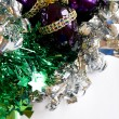 Christmas decor ornaments purple eggs — Stock Photo