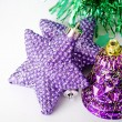 Stock Photo: Purple stars bell Christmas ornament