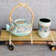 Japanese style ceramic teapot and cup — Stock Photo