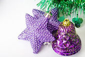 Purple stars bell Christmas ornament — Stock Photo