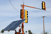 Solar powered traffic lights — Stock Photo