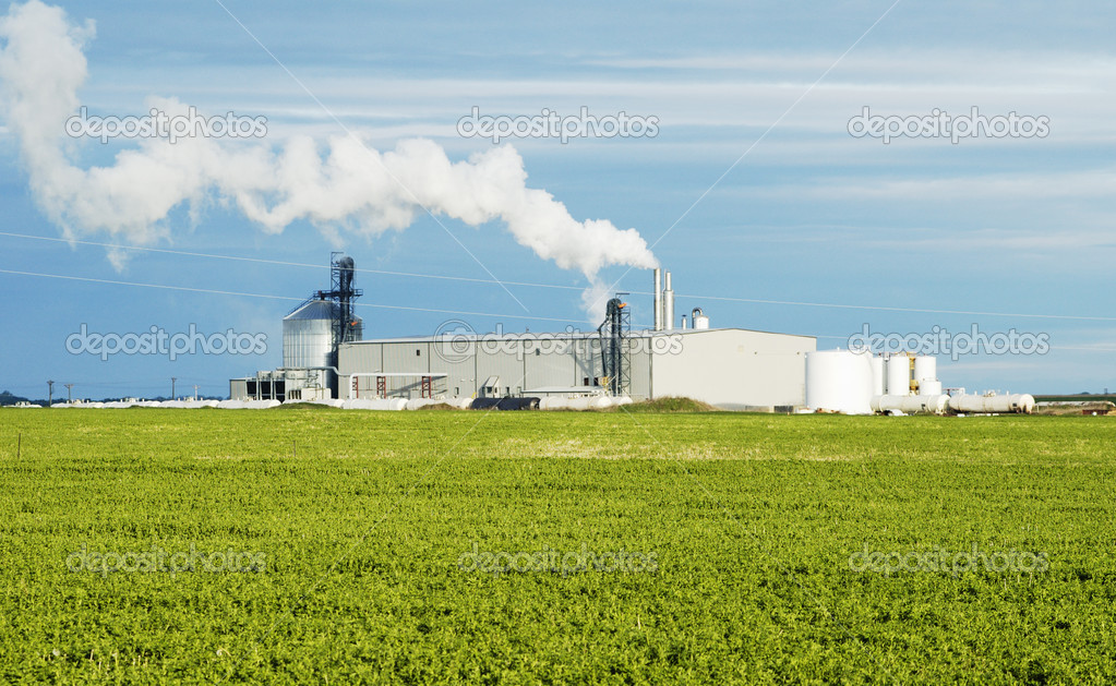 Ethanol production plant utilizing corn as a feed stock located in the middle of farm land in the Dakotas. — Stock Photo #2520610