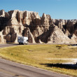 Camper in the Badlands — 图库照片