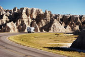 Camper in the Badlands — Stock Photo