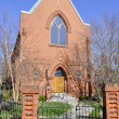 Old red brick church - Stock Photo