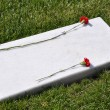 Flat marble tombstone — Stock Photo