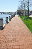 Long brick walkway — Stock Photo