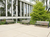 Three empty benches — Stock Photo