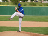 High school baseball pitcher — Stockfoto