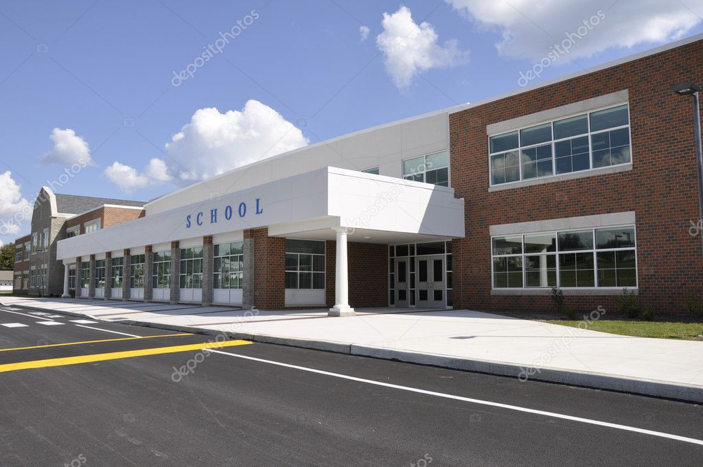Exterior of a modern school building entrance — Stock Photo #2371440